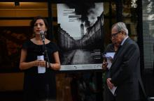 "President of the ICTY Carmel Agius and History Museum of BiH director Elma Hašimbegović opening the exhibition ""Targeting Monuments"" in Sarajevo"